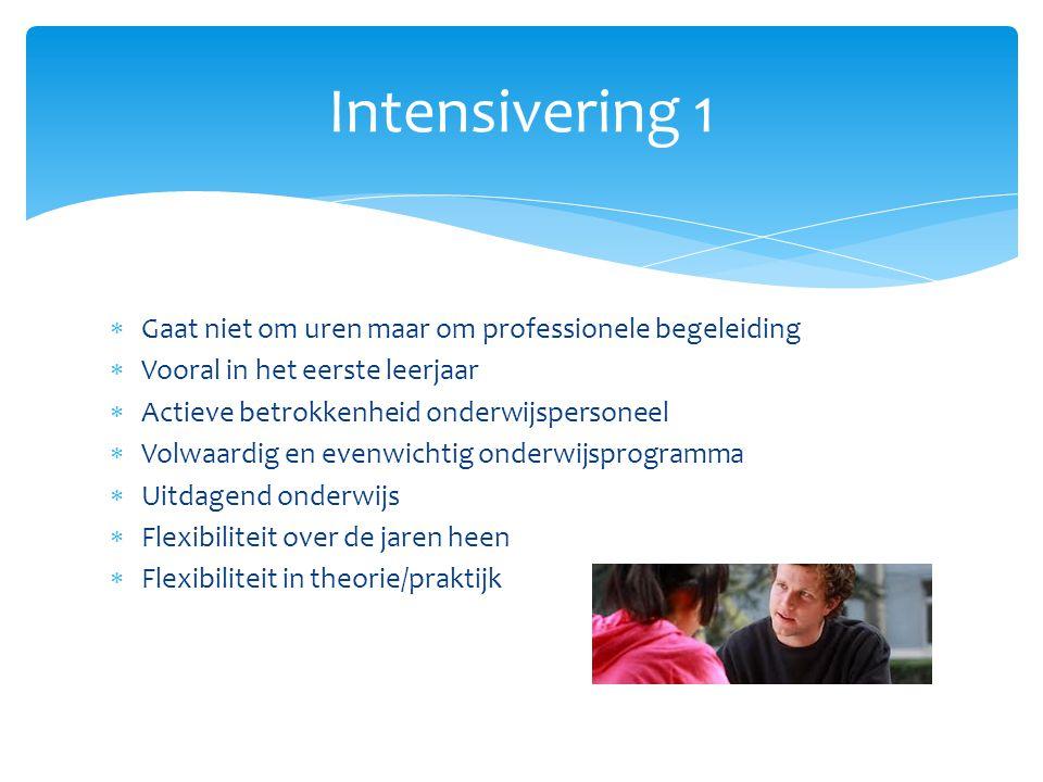  Gaat niet om uren maar om professionele begeleiding  Vooral in het eerste leerjaar  Actieve betrokkenheid onderwijspersoneel  Volwaardig en evenw
