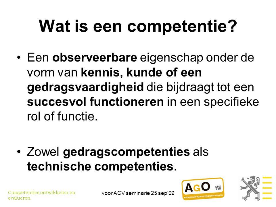 voor ACV seminarie 25 sep 09 Competenties ontwikkelen: waarom Win-win situatie voor individu en organisatie •Individu –Blijvend inzetbaar –Gemotiveerd –Eigenwaarde •Organisatie –Resultaten met beschikbare mensen –Dynamisch inspelen op veranderingen Competenties ontwikkelen en evalueren