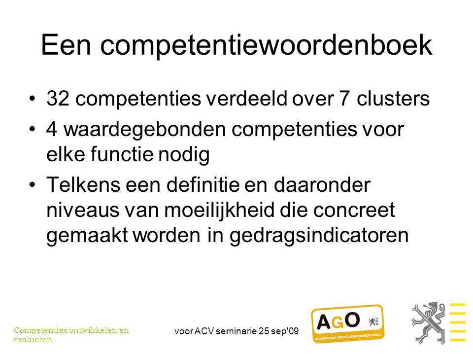 voor ACV seminarie 25 sep 09 Een competentiewoordenboek •32 competenties verdeeld over 7 clusters •4 waardegebonden competenties voor elke functie nodig •Telkens een definitie en daaronder niveaus van moeilijkheid die concreet gemaakt worden in gedragsindicatoren Competenties ontwikkelen en evalueren