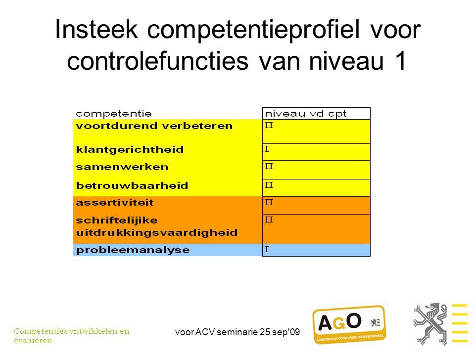 voor ACV seminarie 25 sep 09 Insteek competentieprofiel voor controlefuncties van niveau 1 Competenties ontwikkelen en evalueren