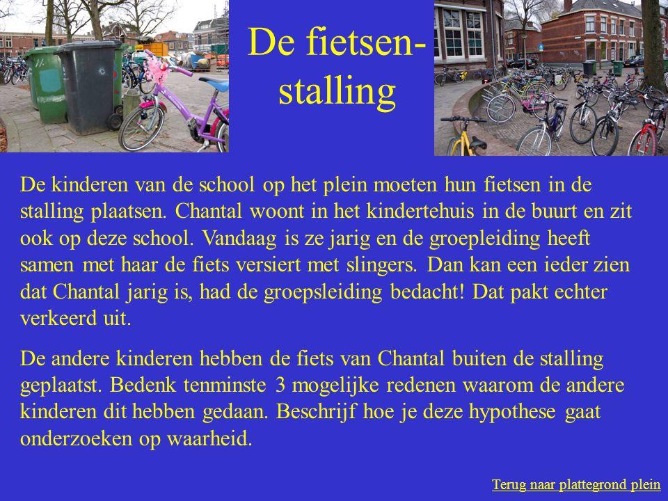 Terug naar plattegrond plein De fietsen- stalling De kinderen van de school op het plein moeten hun fietsen in de stalling plaatsen.