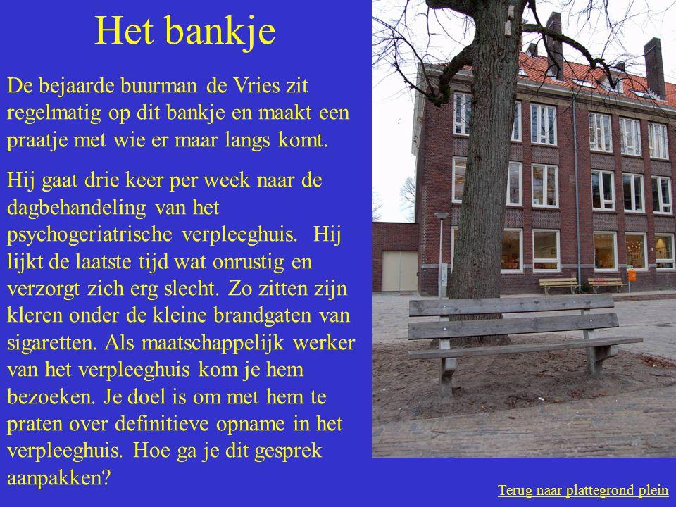 Terug naar plattegrond plein Het bankje De bejaarde buurman de Vries zit regelmatig op dit bankje en maakt een praatje met wie er maar langs komt.