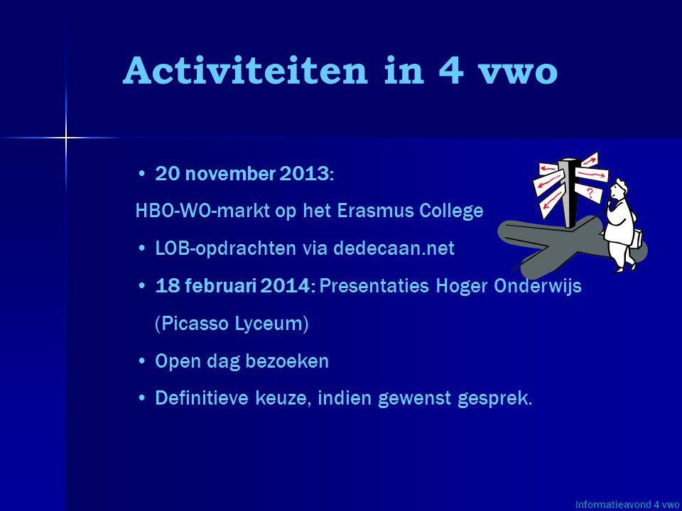 • •20 november 2013: HBO-WO-markt op het Erasmus College • •LOB-opdrachten via dedecaan.net • •18 februari 2014: Presentaties Hoger Onderwijs (Picasso