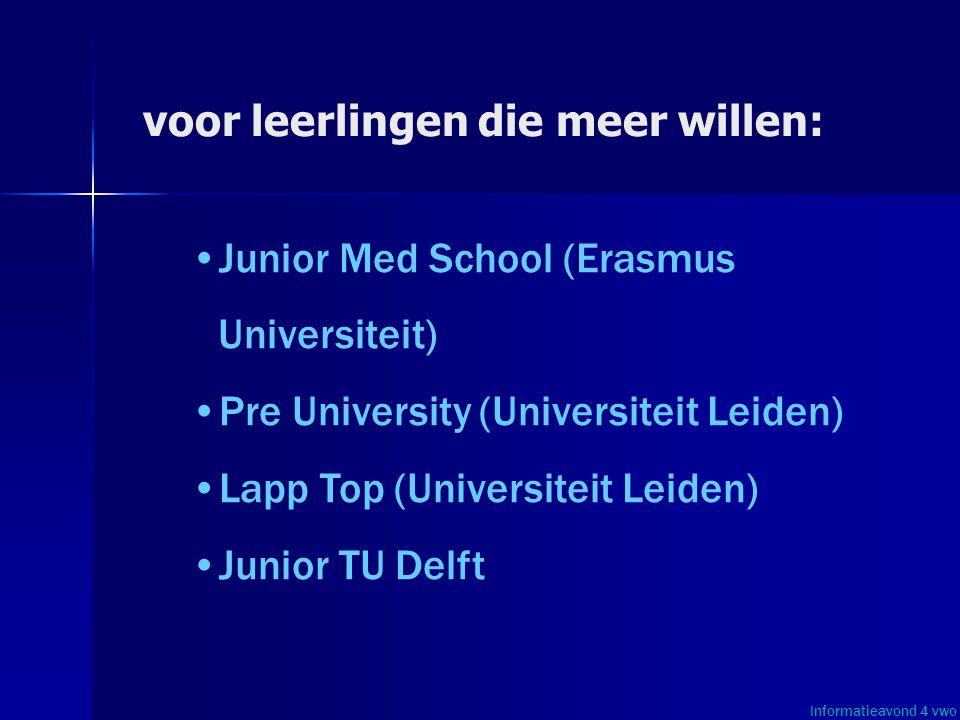 voor leerlingen die meer willen: • •Junior Med School (Erasmus Universiteit) • •Pre University (Universiteit Leiden) • •Lapp Top (Universiteit Leiden)