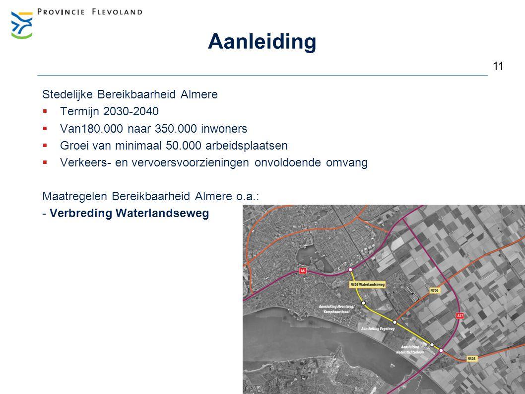Aanleiding Stedelijke Bereikbaarheid Almere  Termijn 2030-2040  Van180.000 naar 350.000 inwoners  Groei van minimaal 50.000 arbeidsplaatsen  Verke