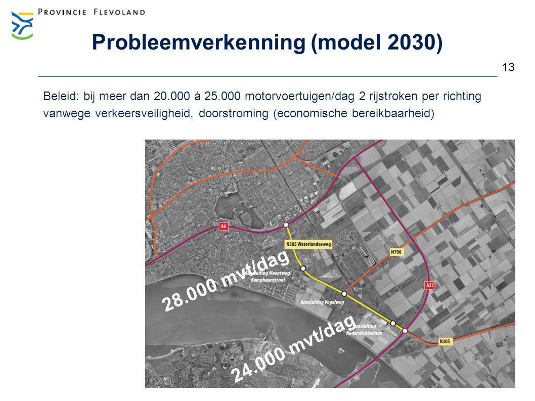 Probleemverkenning (model 2030) Beleid: bij meer dan 20.000 à 25.000 motorvoertuigen/dag 2 rijstroken per richting vanwege verkeersveiligheid, doorstr
