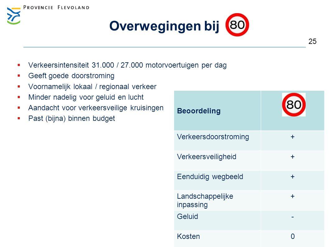 Overwegingen bij  Verkeersintensiteit 31.000 / 27.000 motorvoertuigen per dag  Geeft goede doorstroming  Voornamelijk lokaal / regionaal verkeer 