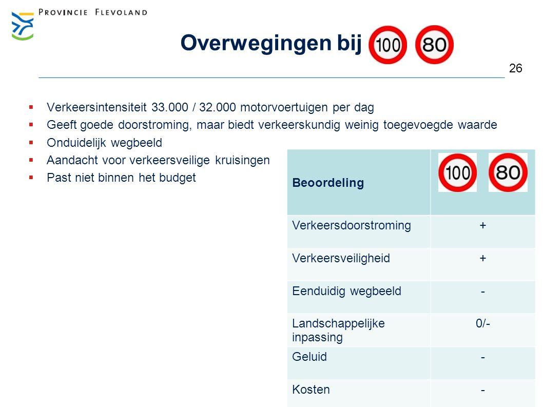 Overwegingen bij  Verkeersintensiteit 33.000 / 32.000 motorvoertuigen per dag  Geeft goede doorstroming, maar biedt verkeerskundig weinig toegevoegd