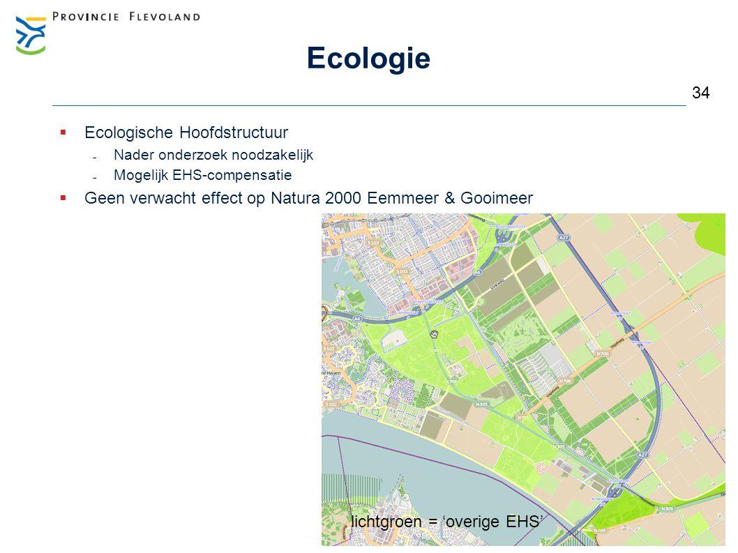 Ecologie  Ecologische Hoofdstructuur  Nader onderzoek noodzakelijk  Mogelijk EHS-compensatie  Geen verwacht effect op Natura 2000 Eemmeer & Gooime