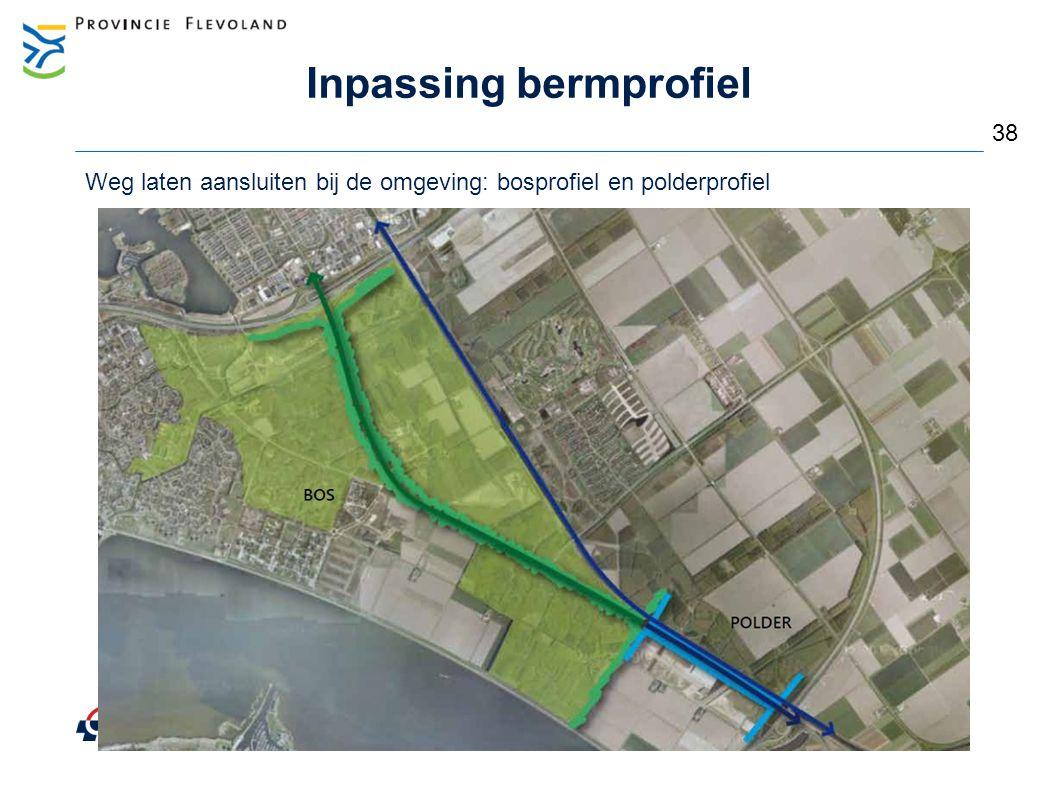 Inrichting bermen – 'bosprofiel'  Sfeer creëren aansluitend bij omgeving  Obstakelvrije afstand 6 meter of geleiderailconstructie 39