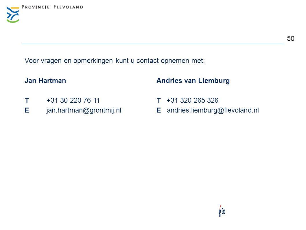 Voor vragen en opmerkingen kunt u contact opnemen met: Jan HartmanAndries van Liemburg T+31 30 220 76 11T +31 320 265 326 Ejan.hartman@grontmij.nlE an