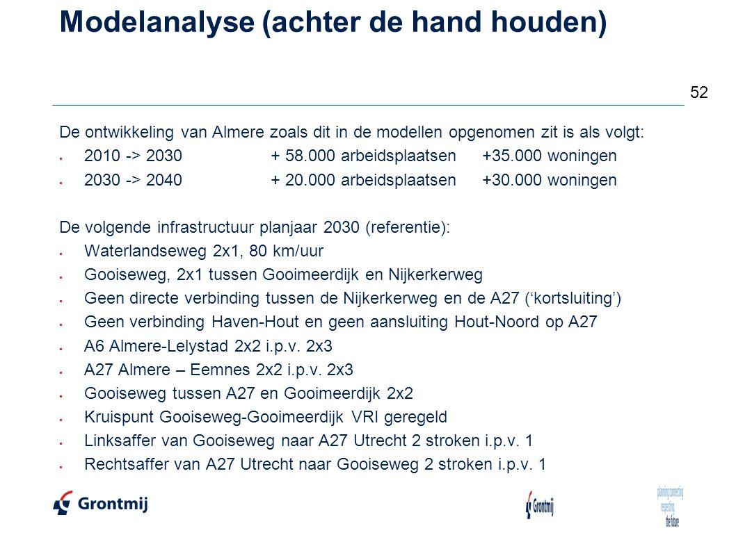 Modelanalyse (achter de hand houden) De ontwikkeling van Almere zoals dit in de modellen opgenomen zit is als volgt:  2010 -> 2030+ 58.000 arbeidspla