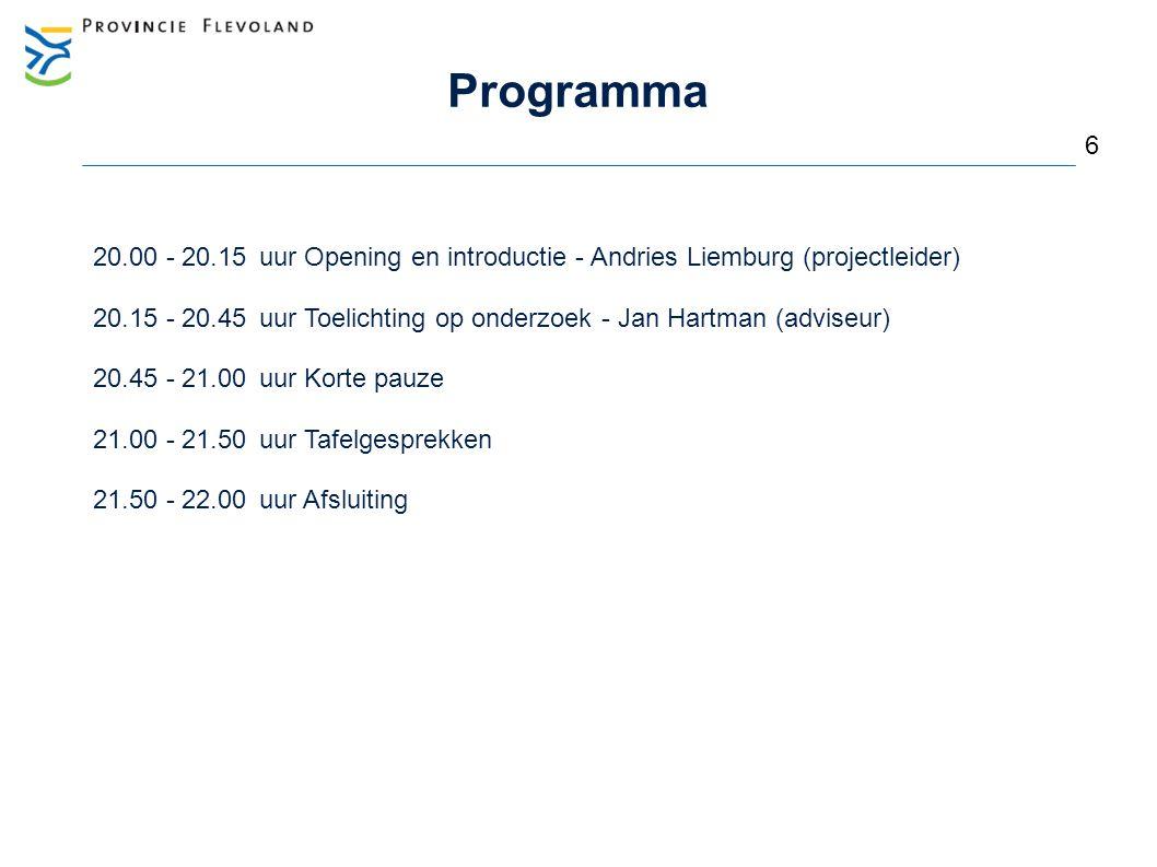 6 Programma 20.00 - 20.15 uur Opening en introductie - Andries Liemburg (projectleider) 20.15 - 20.45uur Toelichting op onderzoek - Jan Hartman (advis