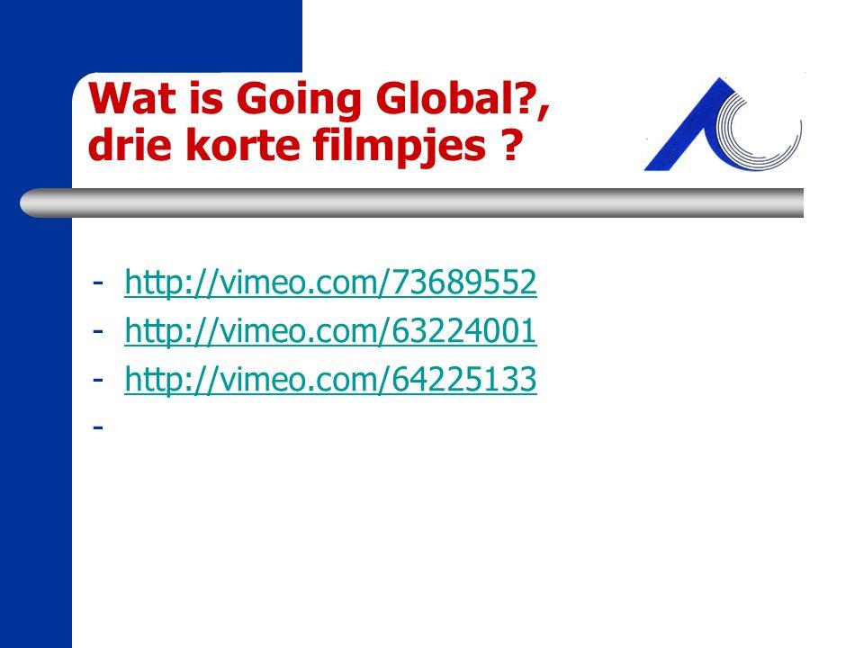 Wat is Going Global?, drie korte filmpjes ? -http://vimeo.com/73689552http://vimeo.com/73689552 -http://vimeo.com/63224001http://vimeo.com/63224001 -h