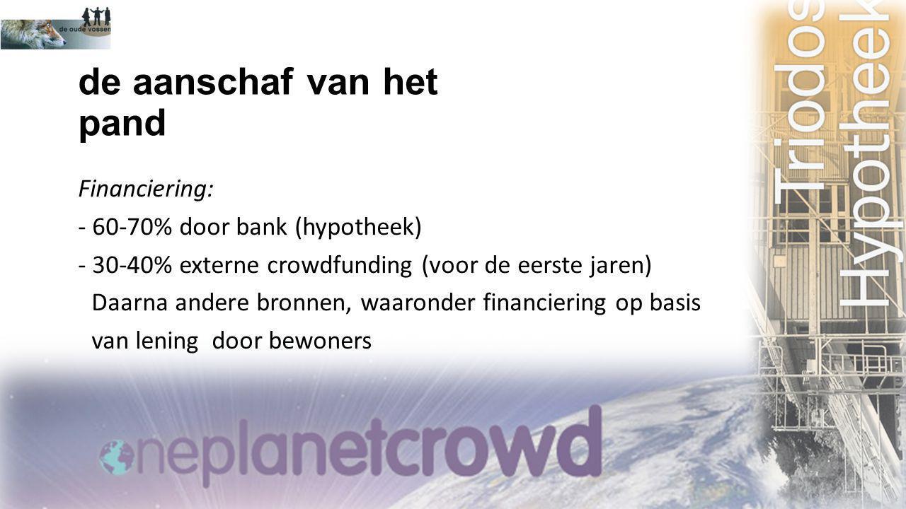 de aanschaf van het pand Financiering: - 60-70% door bank (hypotheek) - 30-40% externe crowdfunding (voor de eerste jaren) Daarna andere bronnen, waar