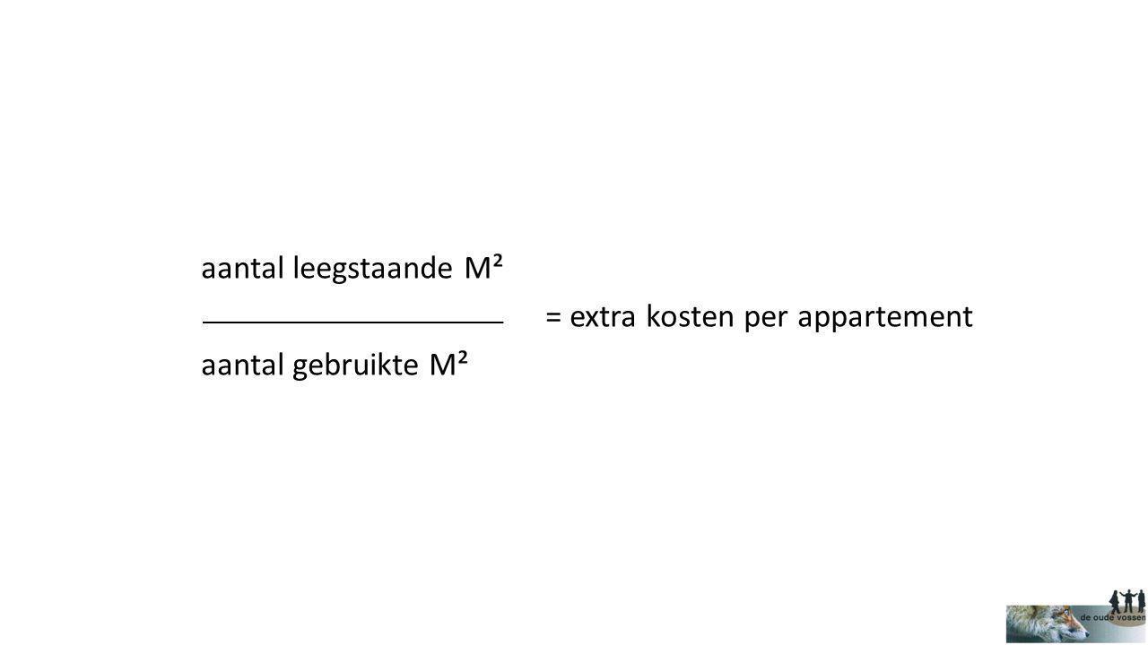 aantal leegstaande M² = extra kosten per appartement aantal gebruikte M²