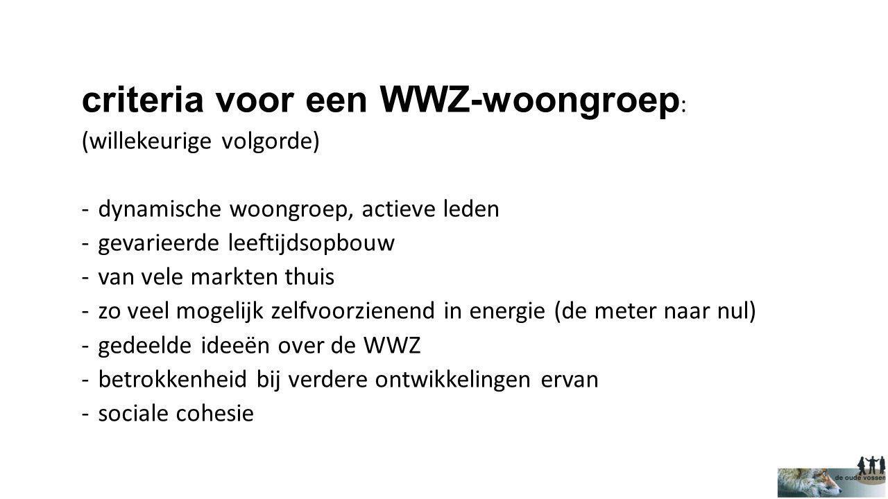 criteria voor een WWZ-woongroep : (willekeurige volgorde) -dynamische woongroep, actieve leden -gevarieerde leeftijdsopbouw -van vele markten thuis -z