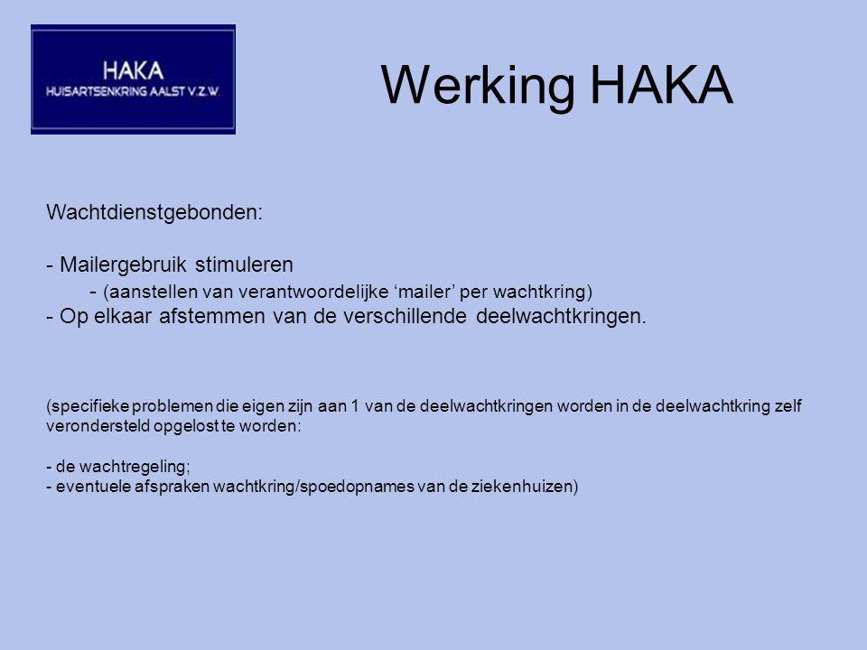 Werking HAKA Wachtdienstgebonden: - Mailergebruik stimuleren - (aanstellen van verantwoordelijke 'mailer' per wachtkring) - Op elkaar afstemmen van de verschillende deelwachtkringen.