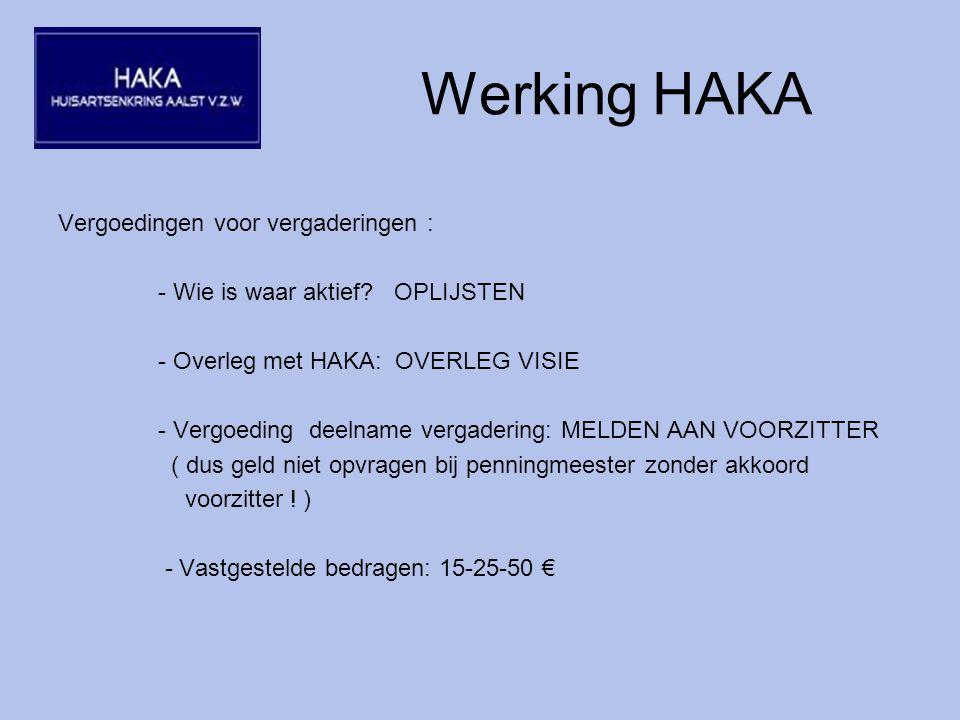Werking HAKA Vergoedingen voor vergaderingen : - Wie is waar aktief.