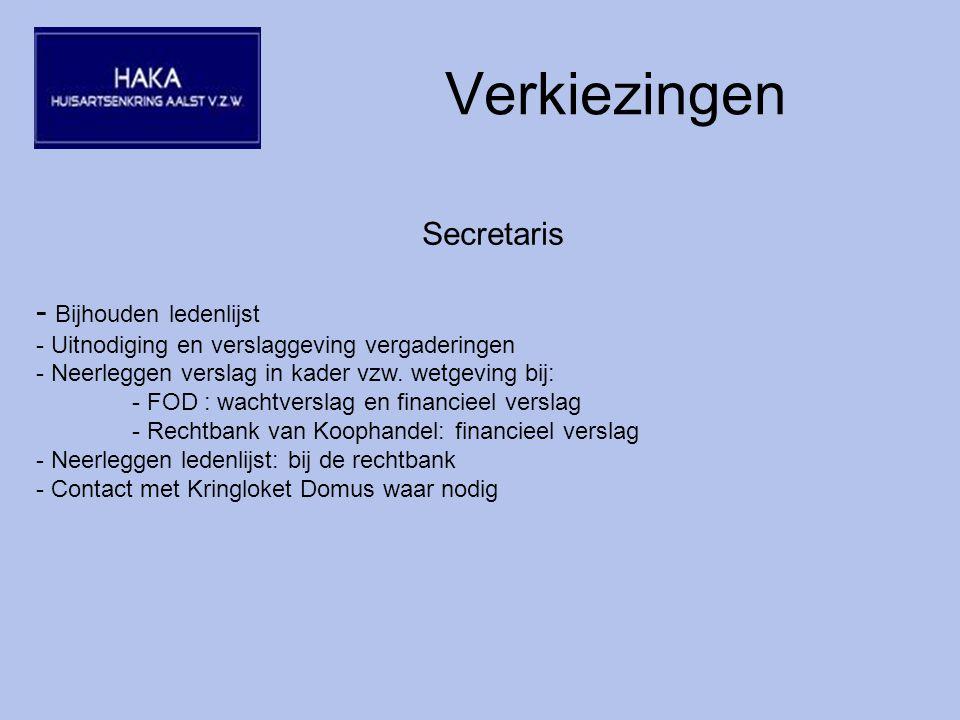 Verkiezingen Secretaris - Bijhouden ledenlijst - Uitnodiging en verslaggeving vergaderingen - Neerleggen verslag in kader vzw.