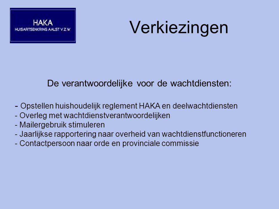 Verkiezingen De verantwoordelijke voor de wachtdiensten: - Opstellen huishoudelijk reglement HAKA en deelwachtdiensten - Overleg met wachtdienstverantwoordelijken - Mailergebruik stimuleren - Jaarlijkse rapportering naar overheid van wachtdienstfunctioneren - Contactpersoon naar orde en provinciale commissie