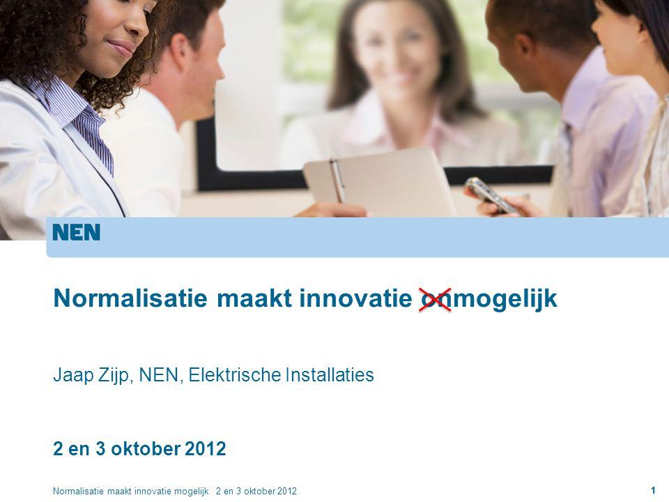 1 Normalisatie maakt innovatie onmogelijk Jaap Zijp, NEN, Elektrische Installaties 2 en 3 oktober 2012 Normalisatie maakt innovatie mogelijk 2 en 3 ok