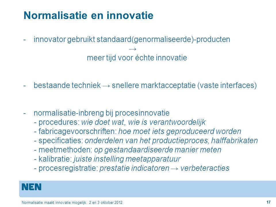 17 Normalisatie maakt innovatie mogelijk 2 en 3 oktober 2012 17 Normalisatie en innovatie -innovator gebruikt standaard(genormaliseerde)-producten → m