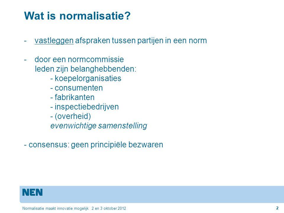 2 2 Wat is normalisatie? -vastleggen afspraken tussen partijen in een norm -door een normcommissie leden zijn belanghebbenden: - koepelorganisaties -