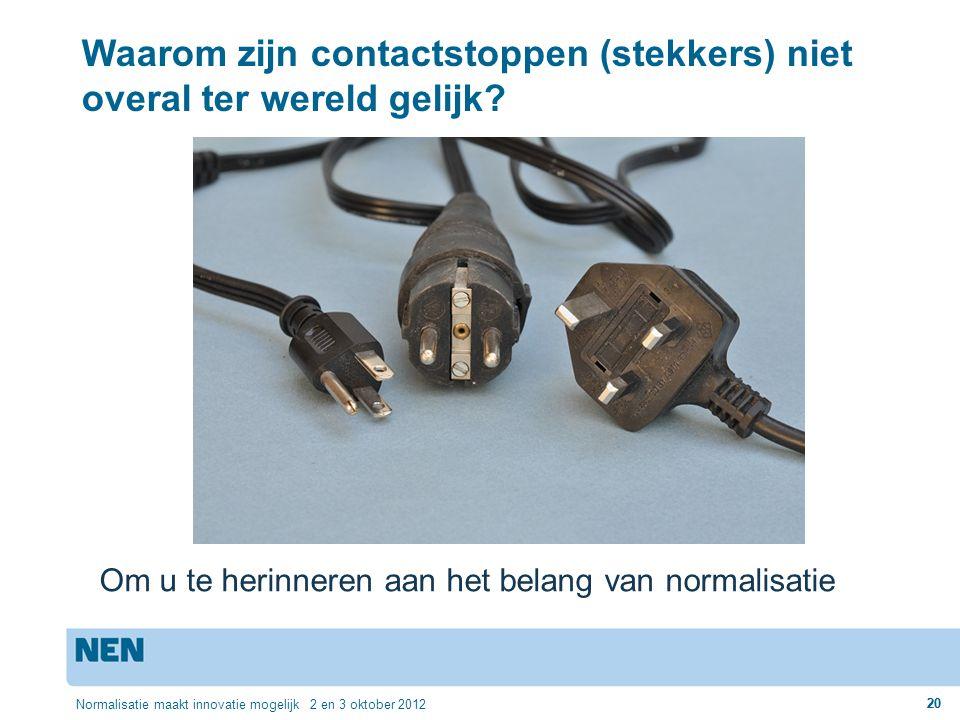 20 Normalisatie maakt innovatie mogelijk 2 en 3 oktober 2012 20 Waarom zijn contactstoppen (stekkers) niet overal ter wereld gelijk? Om u te herinnere