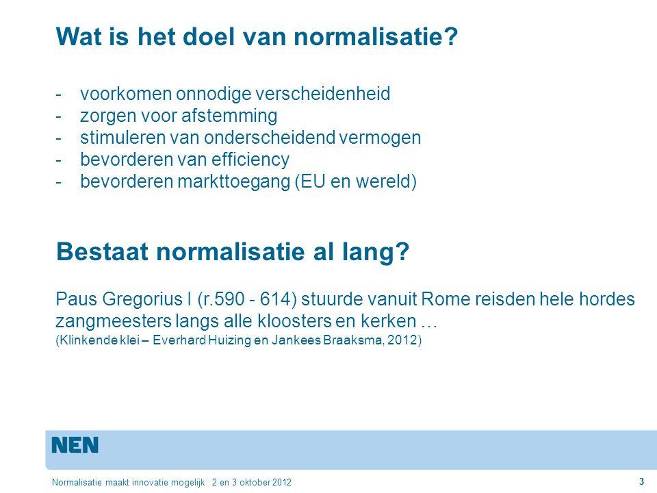 3 Normalisatie maakt innovatie mogelijk 2 en 3 oktober 2012 3 Wat is het doel van normalisatie? -voorkomen onnodige verscheidenheid -zorgen voor afste