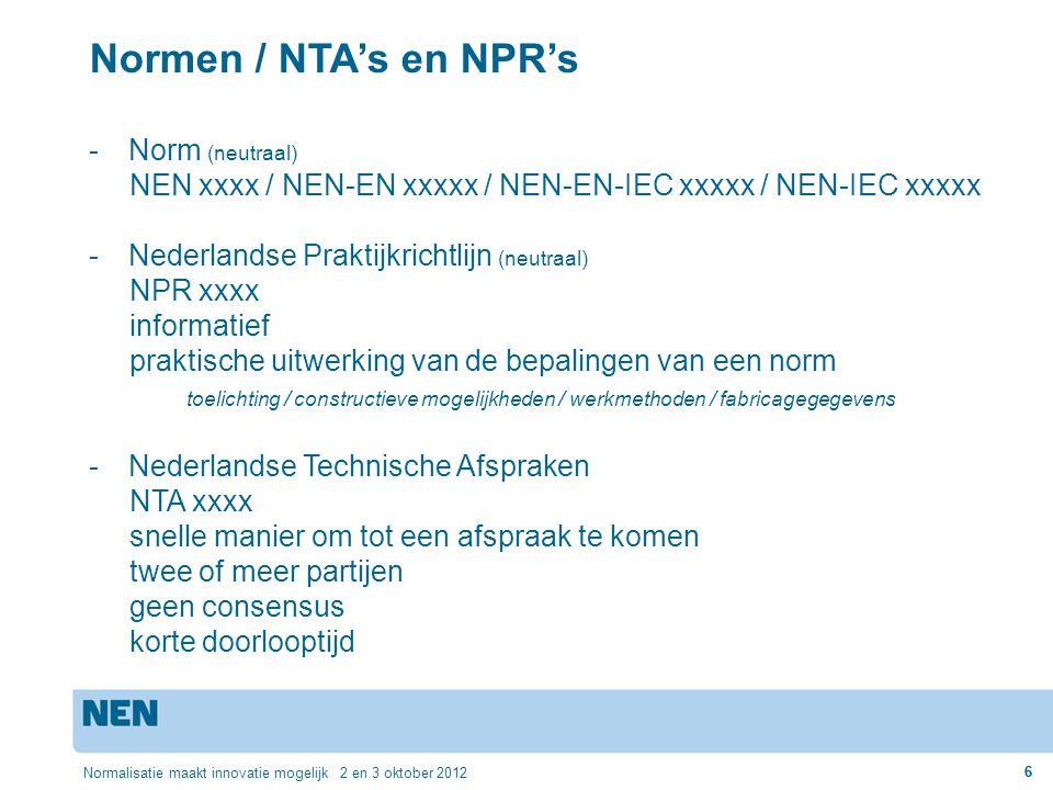 6 Normalisatie maakt innovatie mogelijk 2 en 3 oktober 2012 6 Normen / NTA's en NPR's -Norm (neutraal) NEN xxxx / NEN-EN xxxxx / NEN-EN-IEC xxxxx / NE
