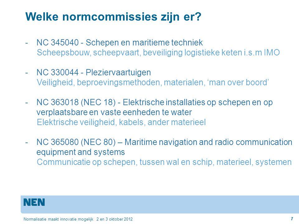 7 Normalisatie maakt innovatie mogelijk 2 en 3 oktober 2012 7 Welke normcommissies zijn er? -NC 345040 - Schepen en maritieme techniek Scheepsbouw, sc