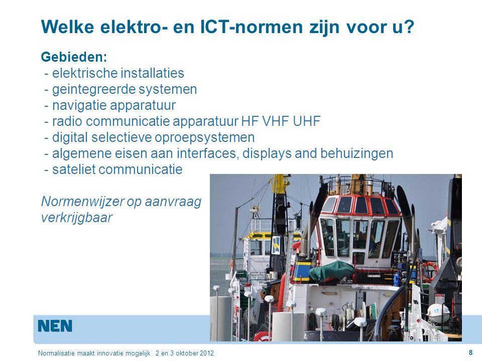 8 Normalisatie maakt innovatie mogelijk 2 en 3 oktober 2012 8 Welke elektro- en ICT-normen zijn voor u? Gebieden: - elektrische installaties - geinteg