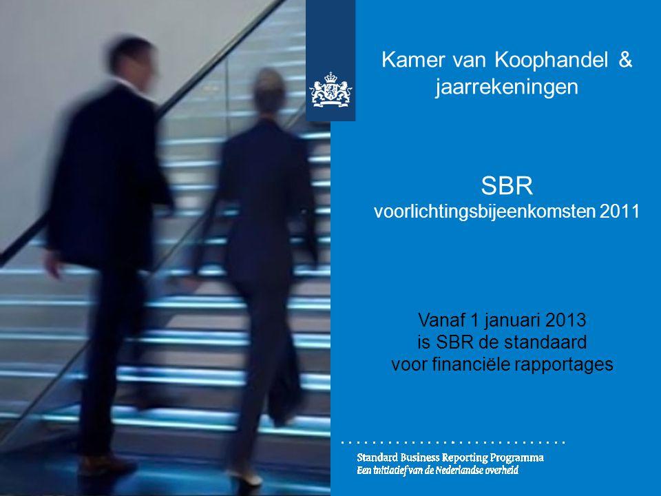 Kamer van Koophandel & jaarrekeningen SBR voorlichtingsbijeenkomsten 2011 Vanaf 1 januari 2013 is SBR de standaard voor financiële rapportages