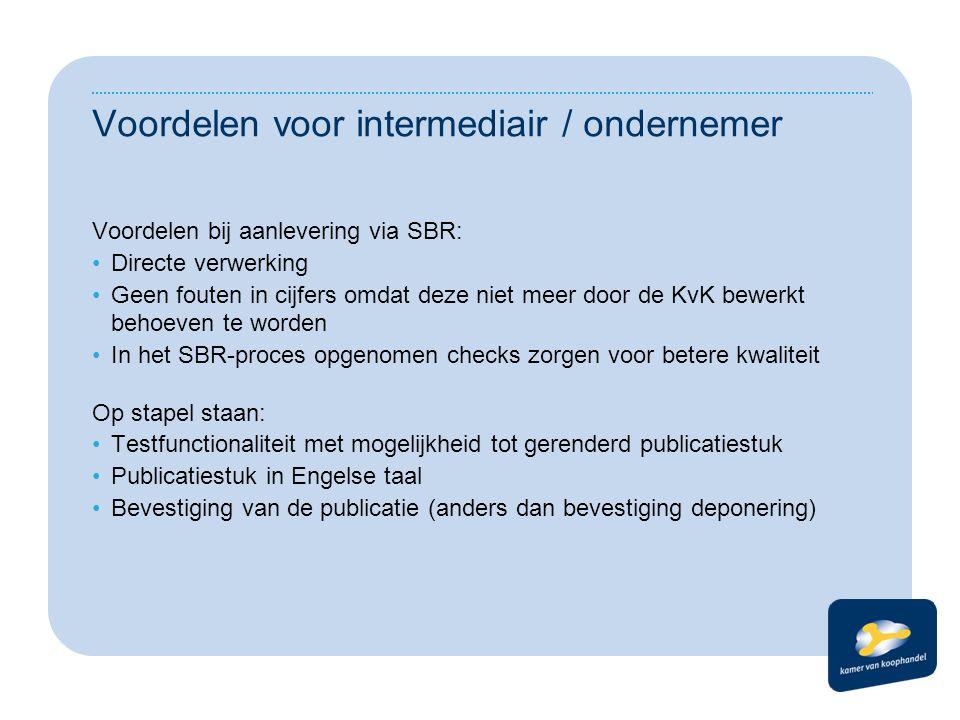 Voordelen voor intermediair / ondernemer Voordelen bij aanlevering via SBR: •Directe verwerking •Geen fouten in cijfers omdat deze niet meer door de K