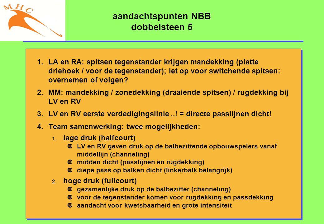 aandachtspunten NBB dobbelsteen 5 1.LA en RA: spitsen tegenstander krijgen mandekking (platte driehoek / voor de tegenstander); let op voor switchende