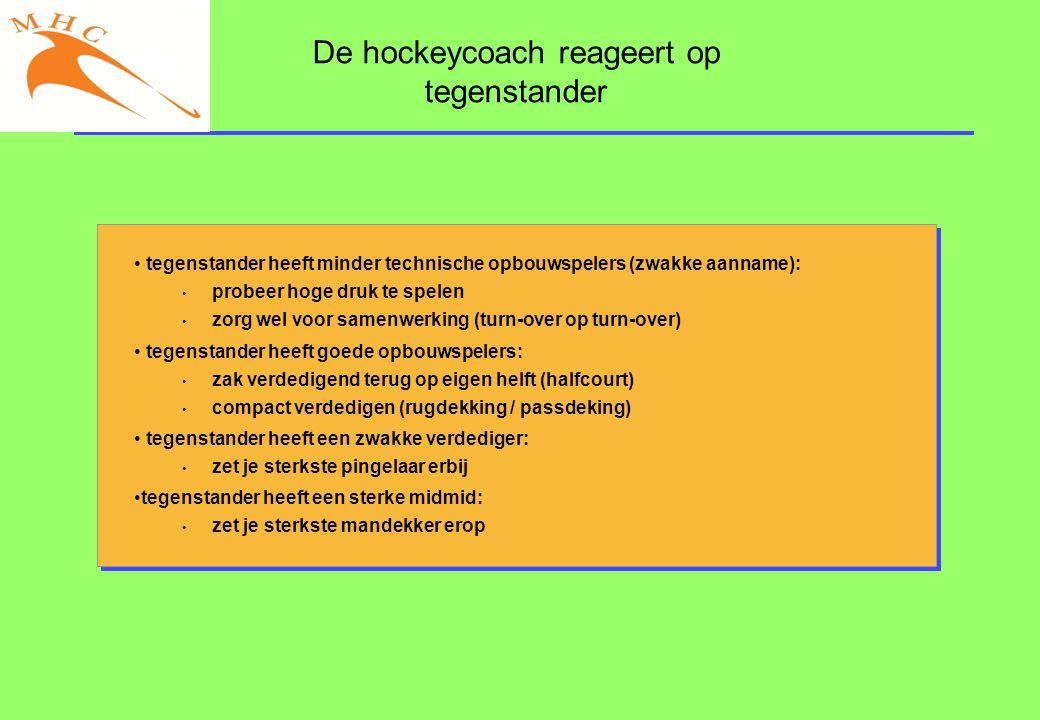 De hockeycoach reageert op tegenstander • tegenstander heeft minder technische opbouwspelers (zwakke aanname): • probeer hoge druk te spelen • zorg we