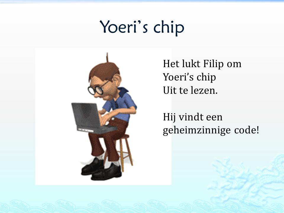 Yoeri's chip Het lukt Filip om Yoeri's chip Uit te lezen. Hij vindt een geheimzinnige code!