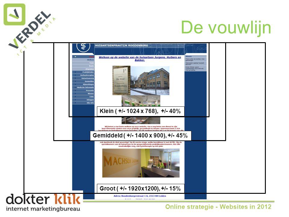 De vouwlijn Groot ( +/- 1920x1200), +/- 15% Klein ( +/- 1024 x 768), +/- 40% Gemiddeld ( +/- 1400 x 900), +/- 45% Online strategie - Websites in 2012