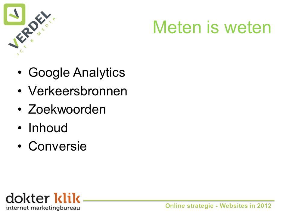 Meten is weten •Google Analytics •Verkeersbronnen •Zoekwoorden •Inhoud •Conversie Online strategie - Websites in 2012