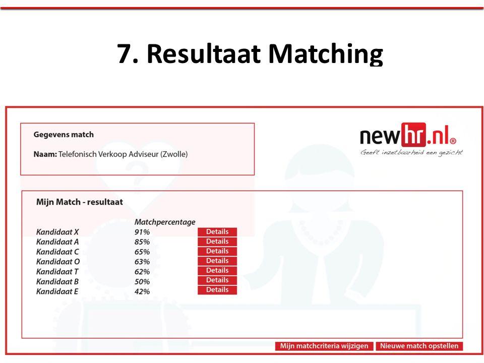 7. Resultaat Matching