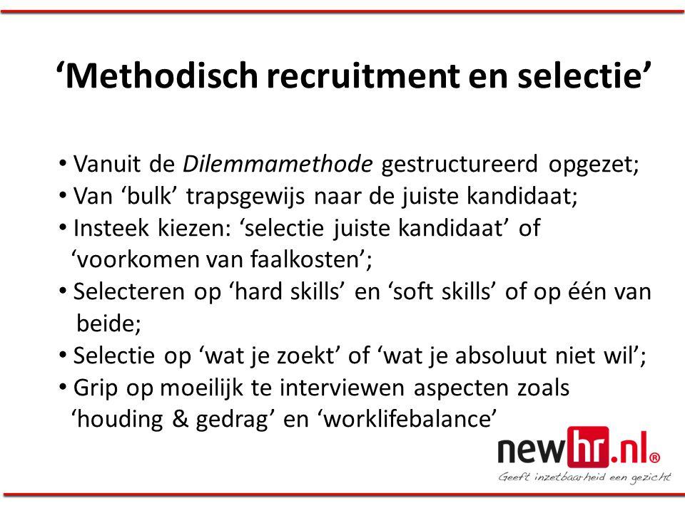 'Methodisch recruitment en selectie' • Vanuit de Dilemmamethode gestructureerd opgezet; • Van 'bulk' trapsgewijs naar de juiste kandidaat; • Insteek k