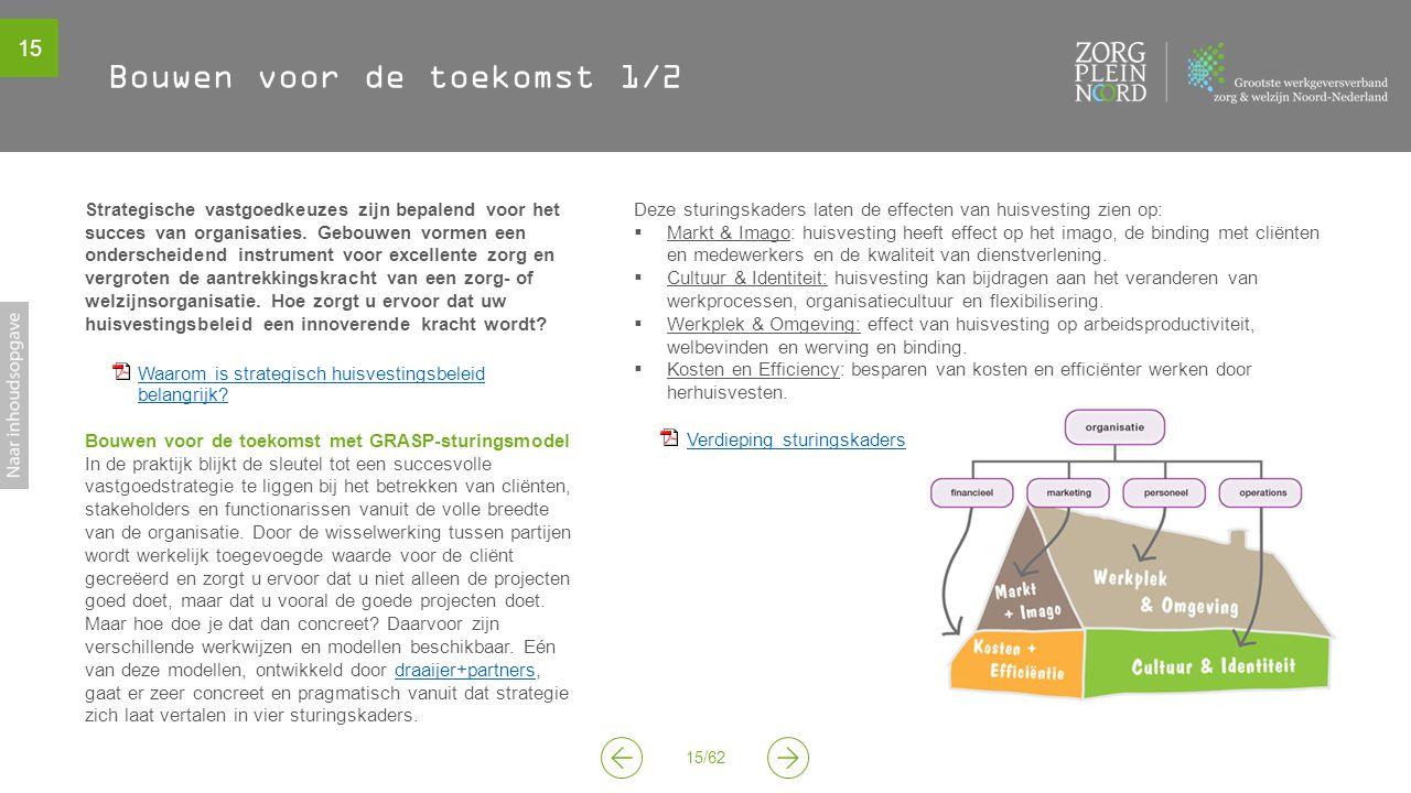 15 15/62 Bouwen voor de toekomst 1/2 Strategische vastgoedkeuzes zijn bepalend voor het succes van organisaties.