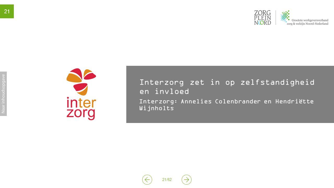 21/62 21 Interzorg zet in op zelfstandigheid en invloed Interzorg: Annelies Colenbrander en Hendriëtte Wijnholts