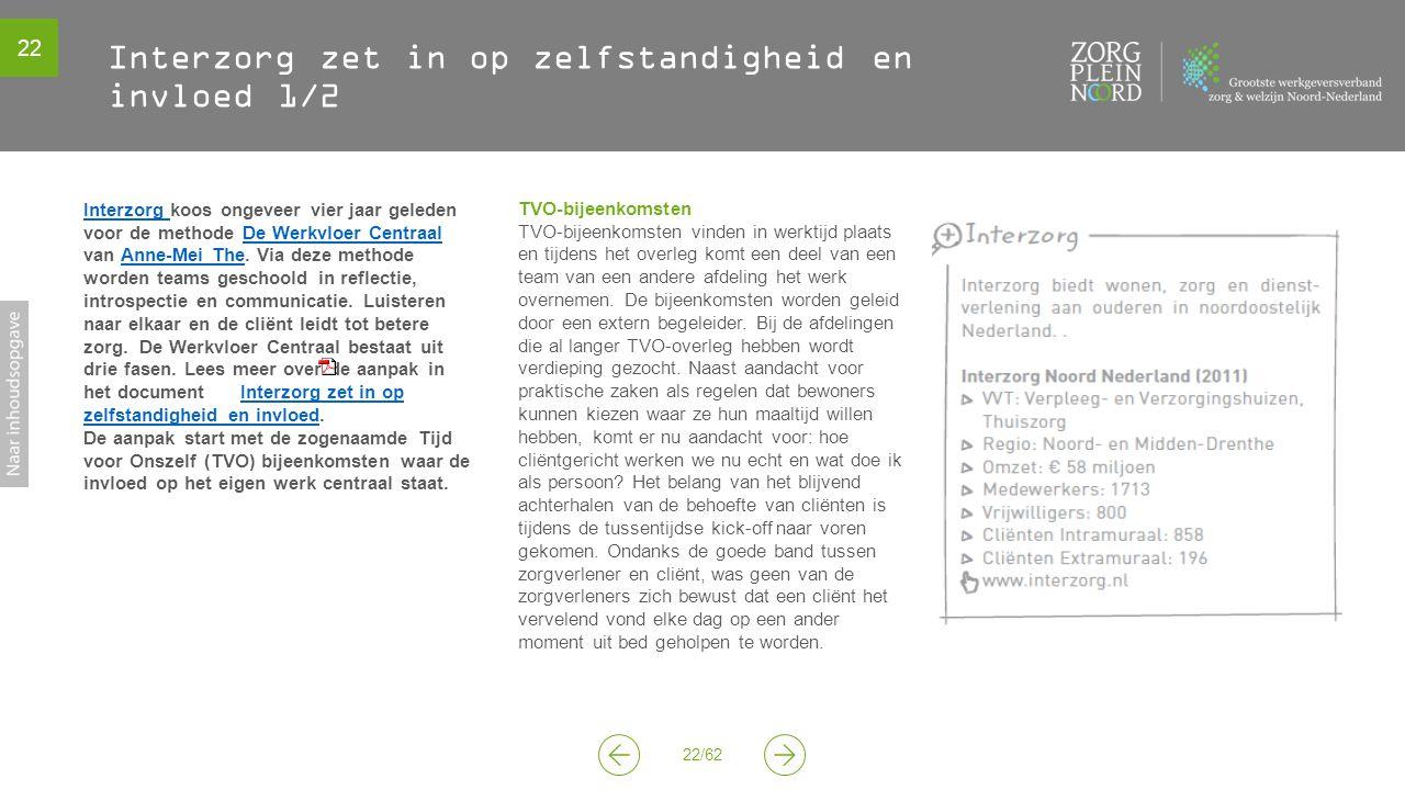 22 22/62 Interzorg zet in op zelfstandigheid en invloed 1/2 TVO-bijeenkomsten TVO-bijeenkomsten vinden in werktijd plaats en tijdens het overleg komt