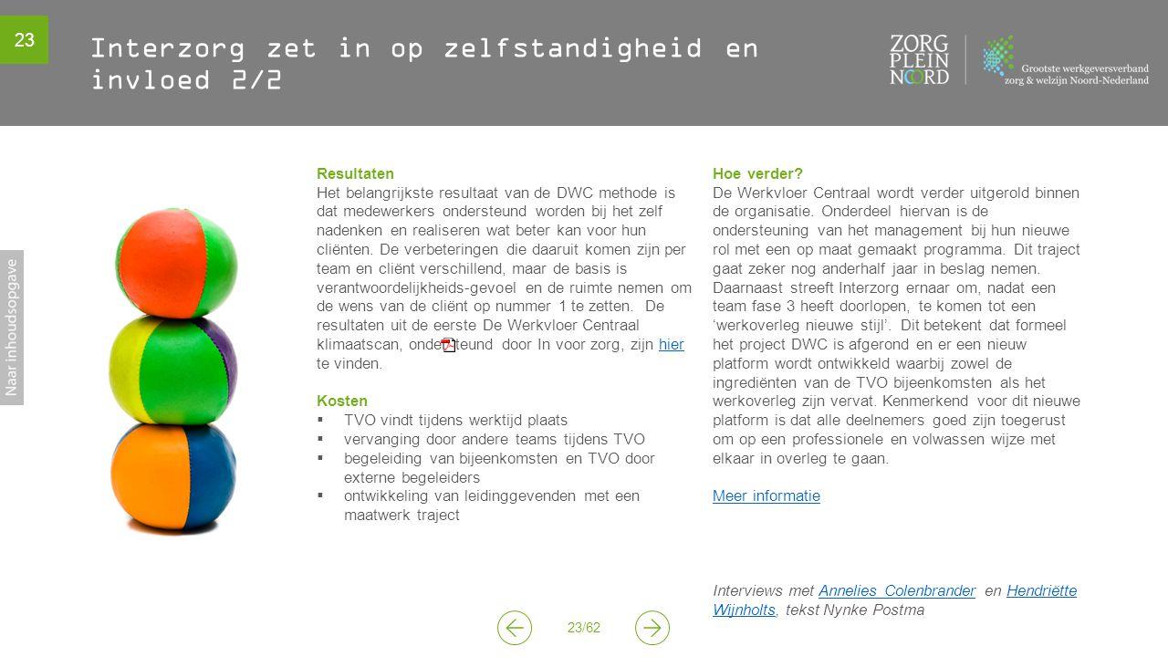 23 23/62 Interzorg zet in op zelfstandigheid en invloed 2/2 Resultaten Het belangrijkste resultaat van de DWC methode is dat medewerkers ondersteund w