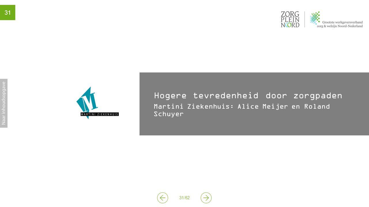 31/62 31 Hogere tevredenheid door zorgpaden Martini Ziekenhuis: Alice Meijer en Roland Schuyer
