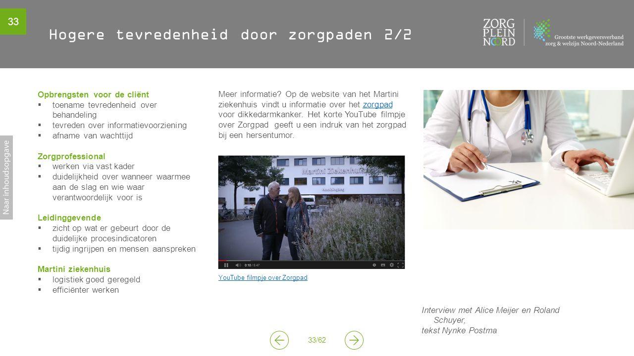 33 33/62 Hogere tevredenheid door zorgpaden 2/2 Meer informatie? Op de website van het Martini ziekenhuis vindt u informatie over het zorgpad voor dik