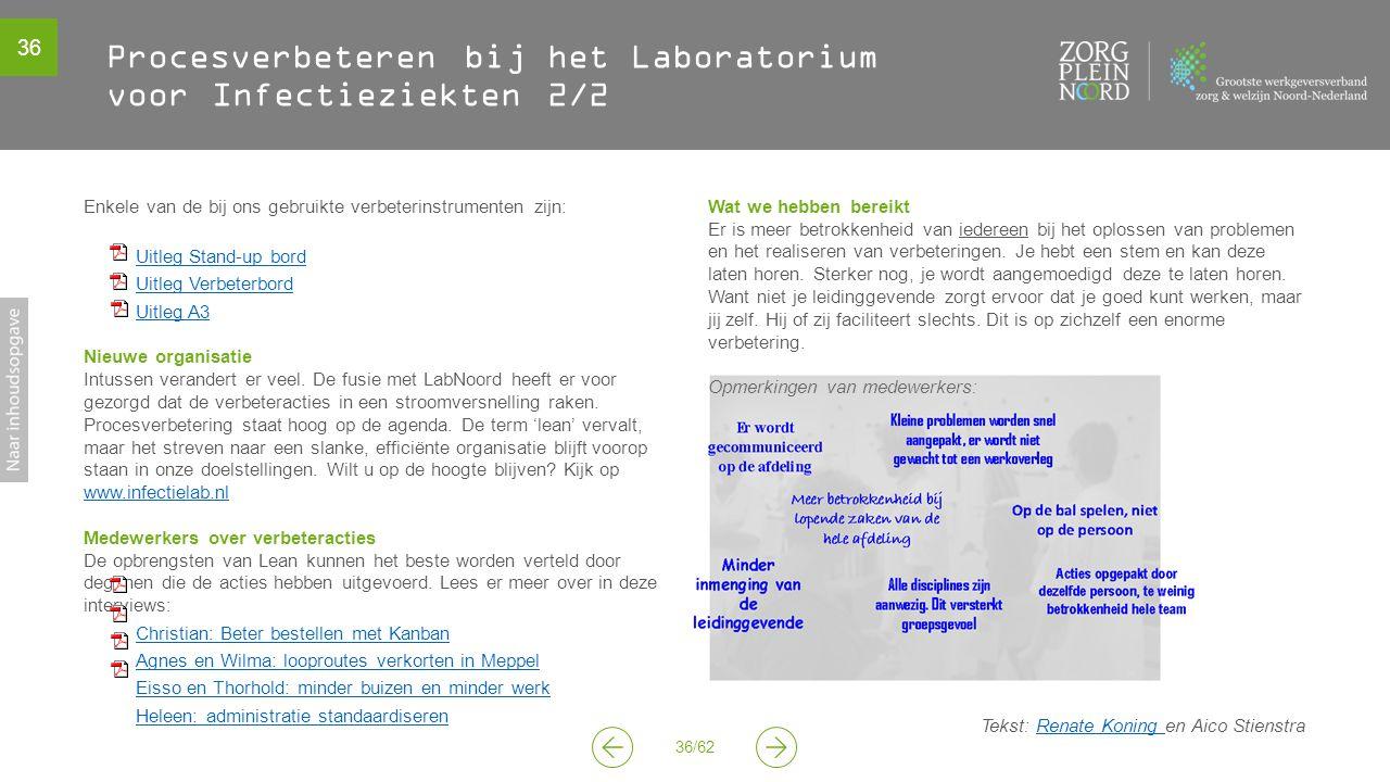 36 36/62 Procesverbeteren bij het Laboratorium voor Infectieziekten 2/2 Enkele van de bij ons gebruikte verbeterinstrumenten zijn: Uitleg Stand-up bord Uitleg Verbeterbord Uitleg A3 Nieuwe organisatie Intussen verandert er veel.