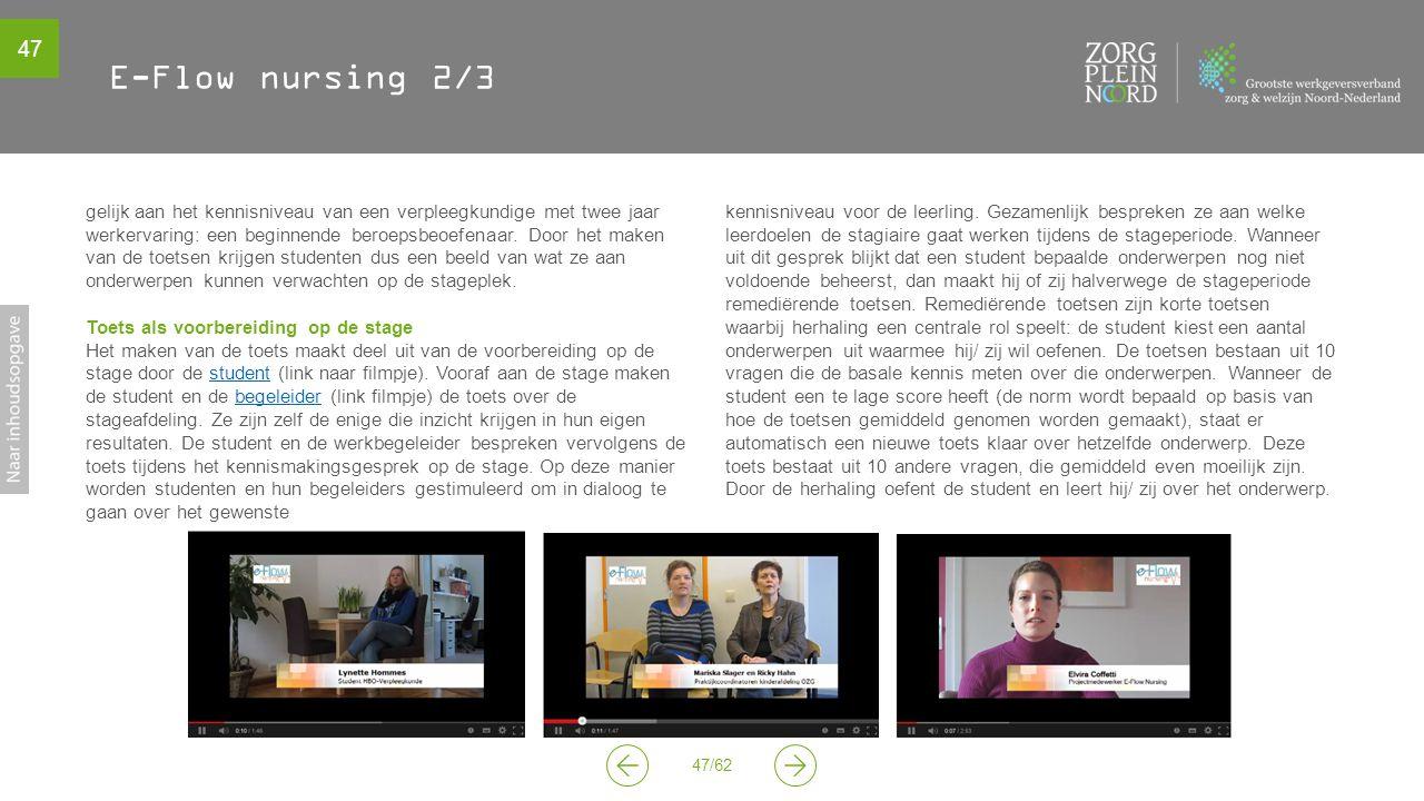 47 47/62 E-Flow nursing 2/3 gelijk aan het kennisniveau van een verpleegkundige met twee jaar werkervaring: een beginnende beroepsbeoefenaar. Door het